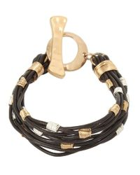 Robert Lee Morris - Brown Wire Wrapped Leather Cord Bracelet - Lyst