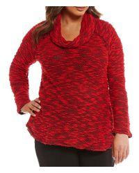 Ruby Rd - Red Plus Cowl-neck Knobby Slub Knit Pullover - Lyst