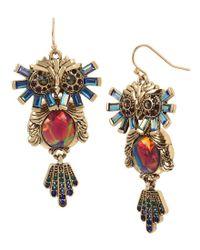 Betsey Johnson - Metallic Owl Drop Earrings - Lyst