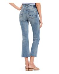Silver Jeans Co. - Blue Aiko Destructed Raw Edge Bootcut Crop Jeans - Lyst