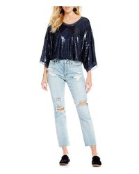 Free People - Blue Champagne Dreams Mini Sequin Bell Sleeve Blouse - Lyst
