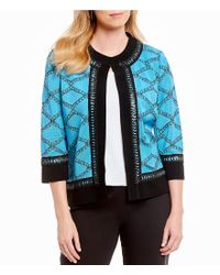 Ming Wang - Black Jewel Neck Faux Leather Trim Jacket - Lyst