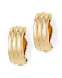 Lauren by Ralph Lauren - Metallic Gold Rib Hoop Clip-on Earrings - Lyst