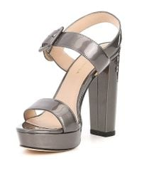 Pelle Moda - Paloma Metallic Patent Leather Dress Sandals - Lyst