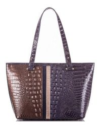 Brahmin - Purple Orba Collection Medium Asher Crocodile-embossed Tasseled Colorblocked Tote - Lyst