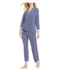 Oscar de la Renta - Blue Pink Label Geometric Clover Pajamas - Lyst
