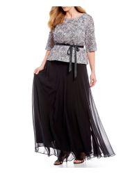 Alex Evenings - Black Plus Size Chiffon Long Circle Skirt - Lyst