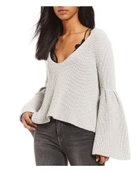 Free People - White Damsel Bell Sleeve Pullover - Lyst