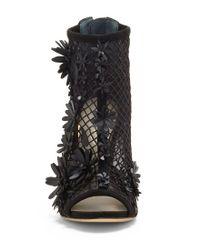 Jessica Simpson - Black Jayko Mesh Synthetic Flower Detail Open Toe Fishnet Booties - Lyst