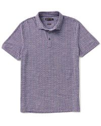Michael Kors - Purple Dot-print Slub Knit Short-sleeve Polo Shirt for Men - Lyst