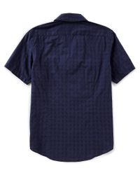 Michael Kors - Blue Slim-fit Solid Short-sleeve Woven Shirt for Men - Lyst