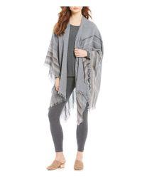 Eileen Fisher - Gray Wool Stripe Mix Poncho - Lyst