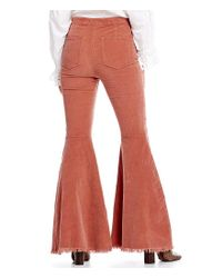 Free People | Red Just Float On Cord Frayed Flare Leg Pant | Lyst