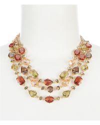 Anne Klein - Metallic Multi Stone 3 Row Frontal Statement Necklace - Lyst