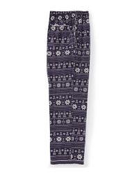 Psycho Bunny - Blue Holiday Fair Isle Woven Pajama Pants for Men - Lyst
