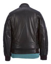Andrew Marc - Black Faux Lambskin Baseball Jacket for Men - Lyst