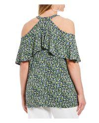 MICHAEL Michael Kors - Green Plus Size Wildflower Print Flounce Halter Top - Lyst