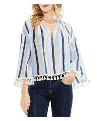 Vince Camuto - Blue Striped Tassel-trim Top - Lyst