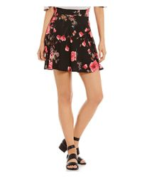 Soprano - Black Floral Fit-and-flare Knit Skirt - Lyst