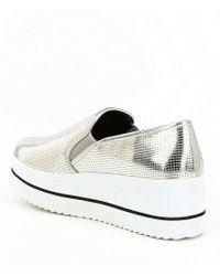 Steve Madden - Becca Metallic Perforated Platform Slip-on Wedge Sneakers - Lyst