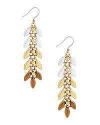 Lucky Brand - Metallic Leaf Linear Earrings - Lyst