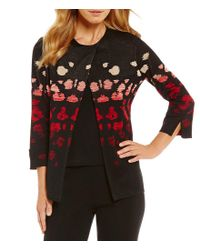 Ming Wang - Black Jewel Neck Ombre Pattern Jacket - Lyst
