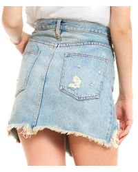 Free People - Blue Relaxed And Destroyed Denim Mini Skirt - Lyst