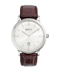 BOSS - Metallic Tradition Analog & Date Crocodile-embossed Leather-strap Watch - Lyst