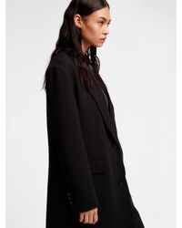 DKNY - Black Wool Notch Collar Coat - Lyst