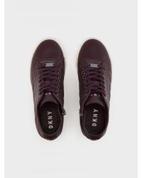 DKNY - Brown Cindy Quilted Nappa Wedge Sneaker - Lyst