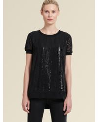 DKNY - Black Sequined Top With Step Hem - Lyst