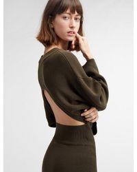 DKNY - Green Long Sleeve Crew Neck Midi Dress With Open Back - Lyst