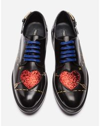 Dolce & Gabbana - Black Printed Leather Derby Shoes With Patch - Lyst