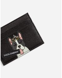 Dolce & Gabbana - Black Credit Card Holder In Printed Dauphine Calfskin for Men - Lyst