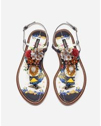 Dolce & Gabbana | Multicolor Bejeweled Thong Sandals | Lyst