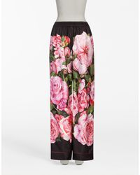 Dolce & Gabbana - Pink Floral-printed Silk Trousers - Lyst