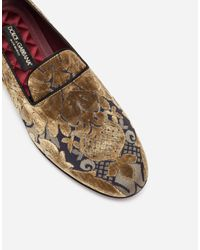 Dolce & Gabbana - Metallic Slippers In Velvet Brocade for Men - Lyst