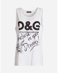 Dolce & Gabbana | White Sleeveless Printed Cotton T-shirt | Lyst