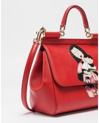 Dolce   Gabbana Medium Sicily Handbag In Dauphine Leather With Dg ... e1cc67426419a