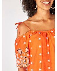 Dorothy Perkins - Orange Cold Shoulder Broderie Top - Lyst