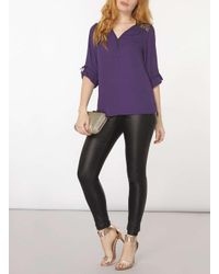 Dorothy Perkins | Purple Lace Zip Front Blouse | Lyst