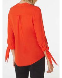 Dorothy Perkins - Red Tie Cuff Shirt - Lyst