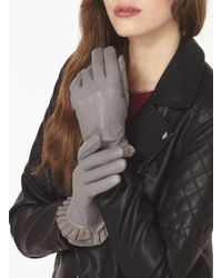 Dorothy Perkins   Gray Grey Leather Frill Gloves   Lyst