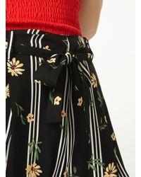 Dorothy Perkins - Black Floral Print Striped Joggers - Lyst