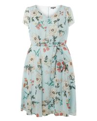 Dorothy Perkins - Green Billie & Blossom Curve Sage Floral Soft Belt Skater Dress - Lyst