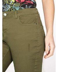 Dorothy Perkins - Green Khaki Denim Knee Length Shorts - Lyst
