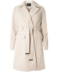 Dorothy Perkins - Natural Oat Twill Belted Coat - Lyst