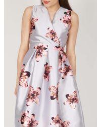 Dorothy Perkins - Gray Grey Floral Midi Dress - Lyst
