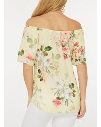Dorothy Perkins - Yellow Floral Gypsy Top - Lyst