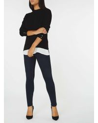 Dorothy Perkins - Black Chiffon Hem 2-in-1 Jumper - Lyst